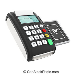 POS device with touch-less pad for nfc system. Smart...