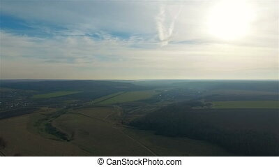 Aerial view of beautiful Ukrainian nature, the height of 300...