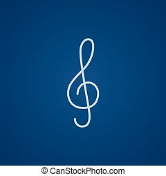 G-clef line icon. - G-clef line icon for web, mobile and...