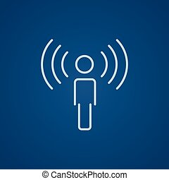 Man with soundwaves line icon. - Man with soundwaves line...