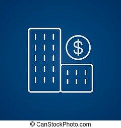 Condominium with dollar symbol line icon.