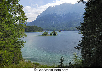 Lake Eibsee at the Zugspitze in Germany...