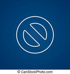 Not allowed sign line icon - Not allowed sign line icon for...