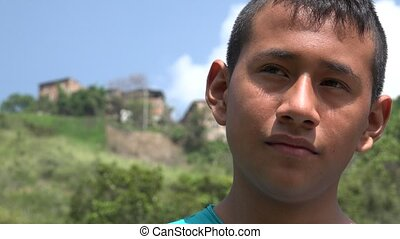 Teenage Boy near Rural Slum