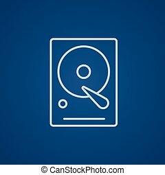 Hard disk line icon. - Hard disk line icon for web, mobile...