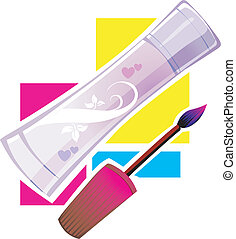 Body care - Illustration of a body lotion tube and nail...