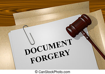 Document Forgery concept - Render illustration of Document...