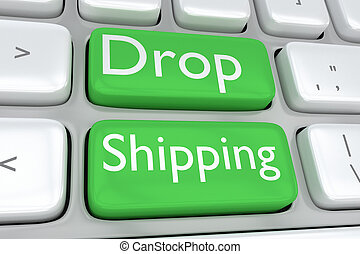 Drop Shipping concept - Render illustration of computer...