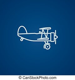 Propeller plane line icon - Propeller plane line icon for...