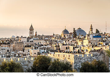 Skyline of the Old City at Christian Quarter of Jerusalem,...