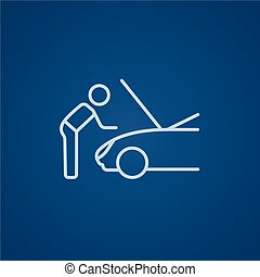 Man fixing car line icon - Man fixing car line icon for web,...