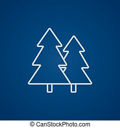 Pine trees line icon. - Pine trees line icon for web, mobile...