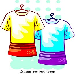 cloths - Illustration of cloths in colour background