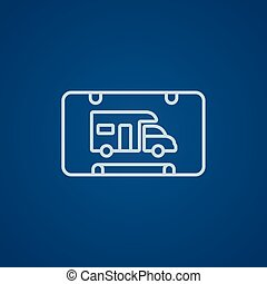 RV camping sign line icon - RV camping sign line icon for...