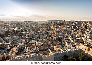 Skyline of the Old City at Temple Mount in Jerusalem,...