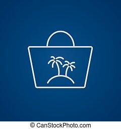 Beach bag line icon.