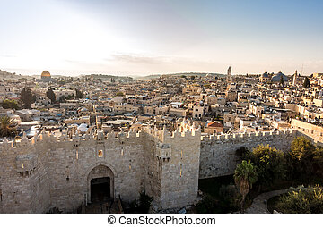 Skyline of the Old City in Jerusalem from north, Israel. -...