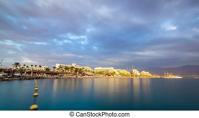 Beautiful sunset over Red Sea in Eilat, Israel, Middle East
