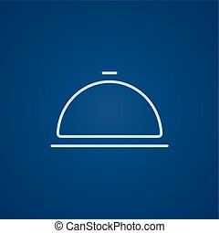 Restaurant cloche line icon - Restaurant cloche line icon...