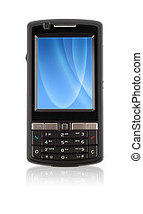 Blank Communicator - New black smartphone cell phone with...