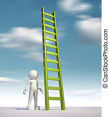 Ladder - 3d people - man, person and a ladder  - stair.