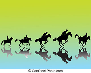 Show jumper silhouette with colored background