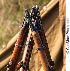 Military rifles of World War II in the forest