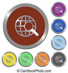 Color web search buttons - Set of glossy coin-like color web...