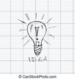 Pen and ink style illustration of a light bulb