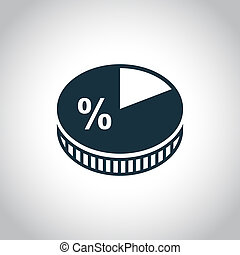 Business pie chart icon for web and mobile devices
