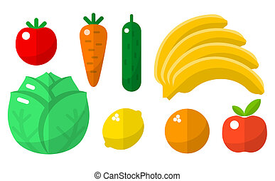 Fruits and vegetables flat icons set for web and mobile...