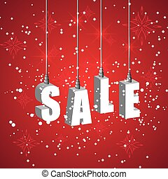 Winter sale red banner with white hanging letters. Christmas...