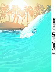 Surf wave at the beach at sunrise
