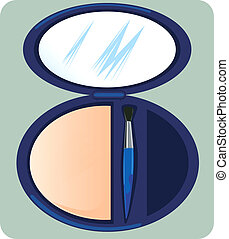 Make-Up Brush - Illustration of Make-Up Brush and mirror