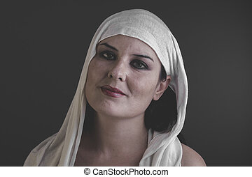 treatment, beautiful woman with a white towel on her head,...