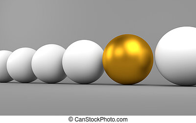 Golden sphere stands out - 3D render illustration - Golden...