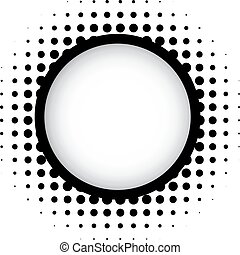 Halftone round frame with shadow