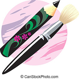 Make-Up Brush and pencil - Illustration of Make-Up Brush and...