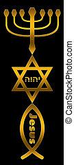 Menorah, Star of David and fish in bronze