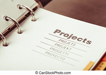 The Projects organizer - The word projects in different...