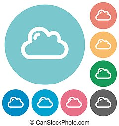 Flat cloud icons - Flat cloud icon set on round color...