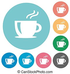 Flat coffee icons - Flat coffee icon set on round color...