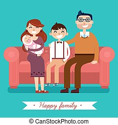 Happy Family with Newborn Baby