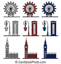 London Symbols Set - London Eye, Big Ben, Phone Booth. Set...