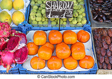 Persimmon - Japanese Persimmon Fruit at Farmers Market