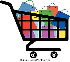 Shopping cart with a lot of colorful bags