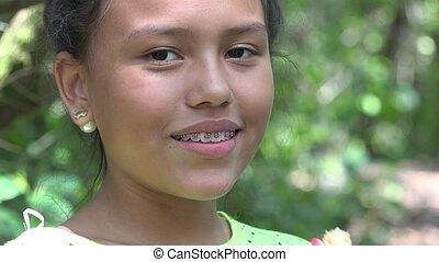 Girl Eating Granola Snack