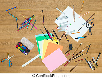 Art And Craft Tools On Wooden Table - Directly above shot of...