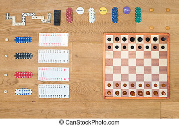 Various Leisure Games Arranged On Table - Directly above...