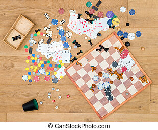 Various Leisure Games Spread On Wooden Table - Directly...